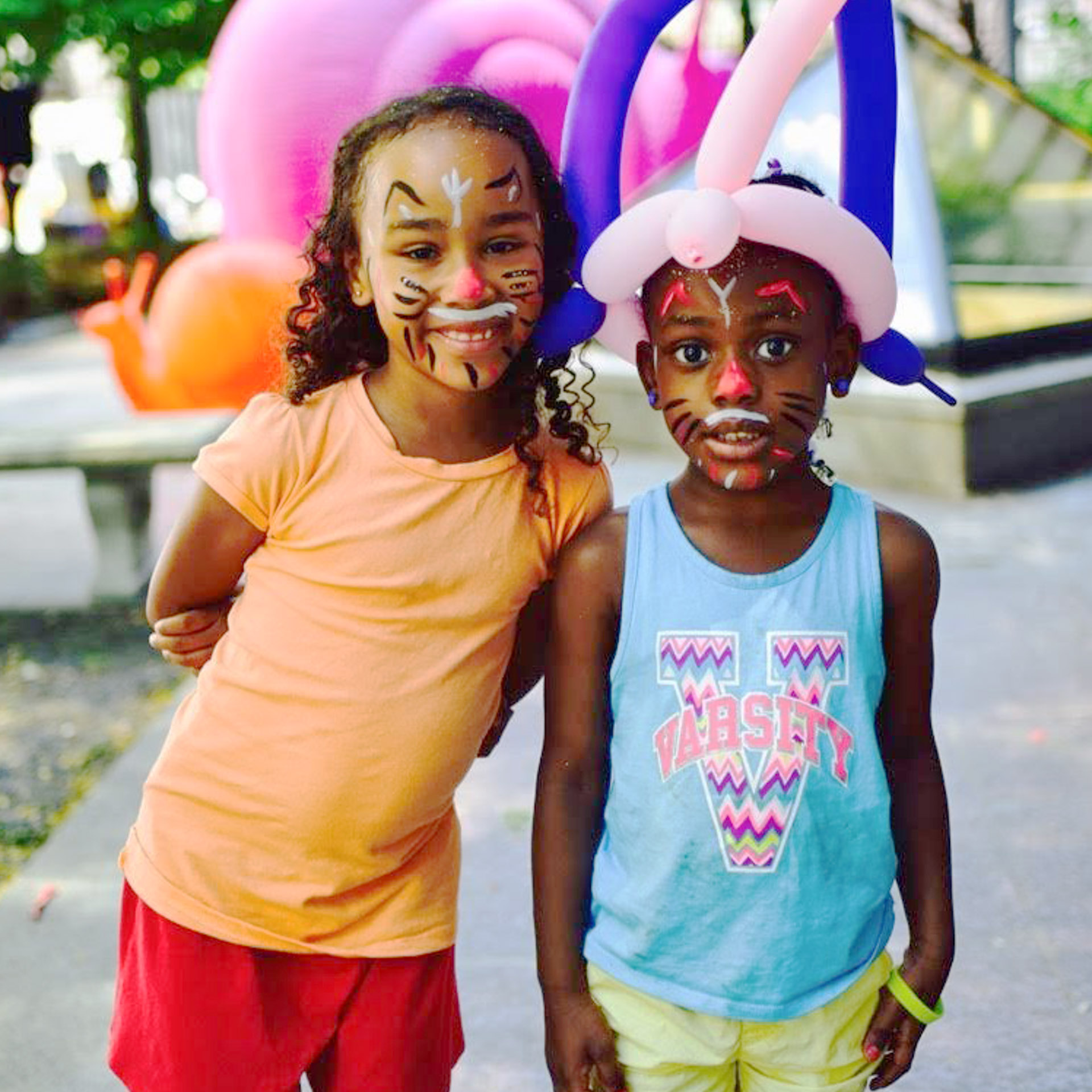 Picture of two girls in face paint